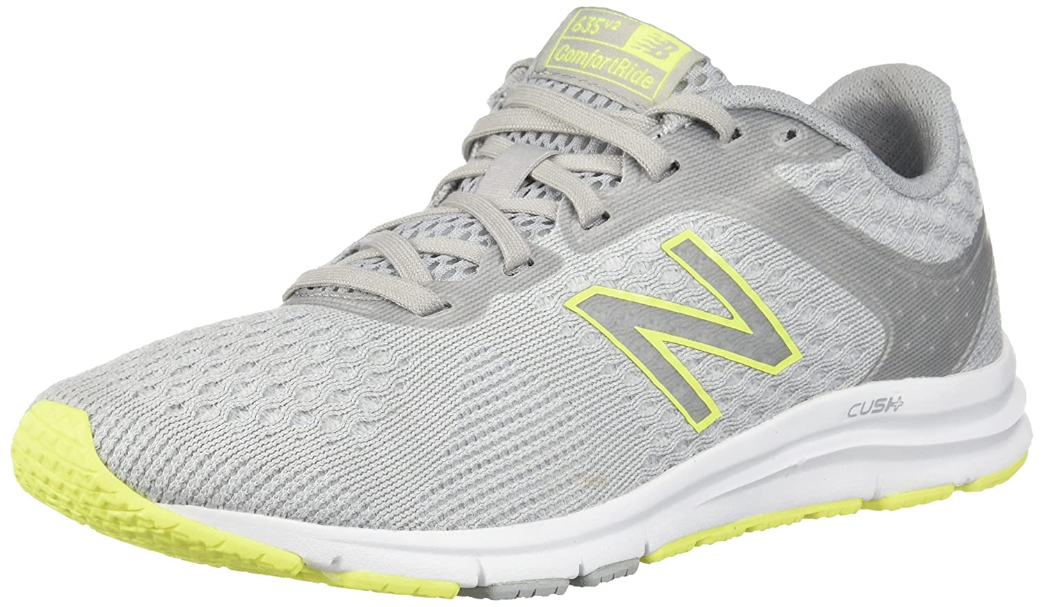 New Balance Women's 635v2 Cushioning Running Shoe B06XRTS7D1 8 B(M) US|Silver/Yellow