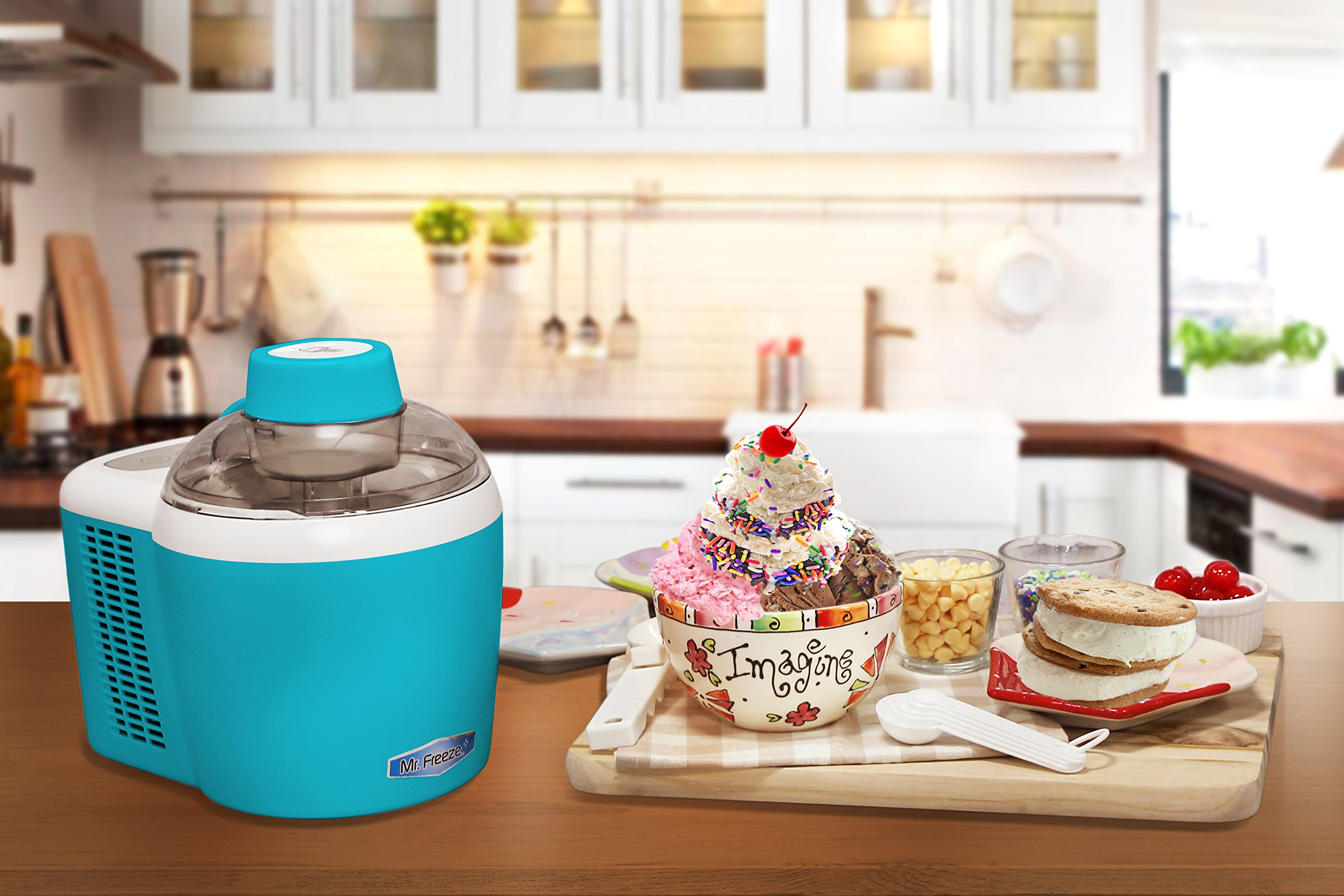 Mr. Freeze EIM-700T Self-Freezing Self-Refrigerating Ice Cream Maker, 1.5 Pint, Turquoise by Maxi-Matic (Image #7)