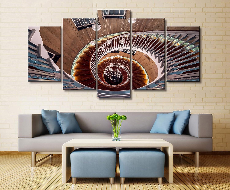 haochenli188 Wall Art Poster Painting Cuadros modulares para Sala de Estar Cuadros Decorativos Lienzo Impreso 5 Panel Escalera de Caracol Edificio-Marco: Amazon.es: Hogar