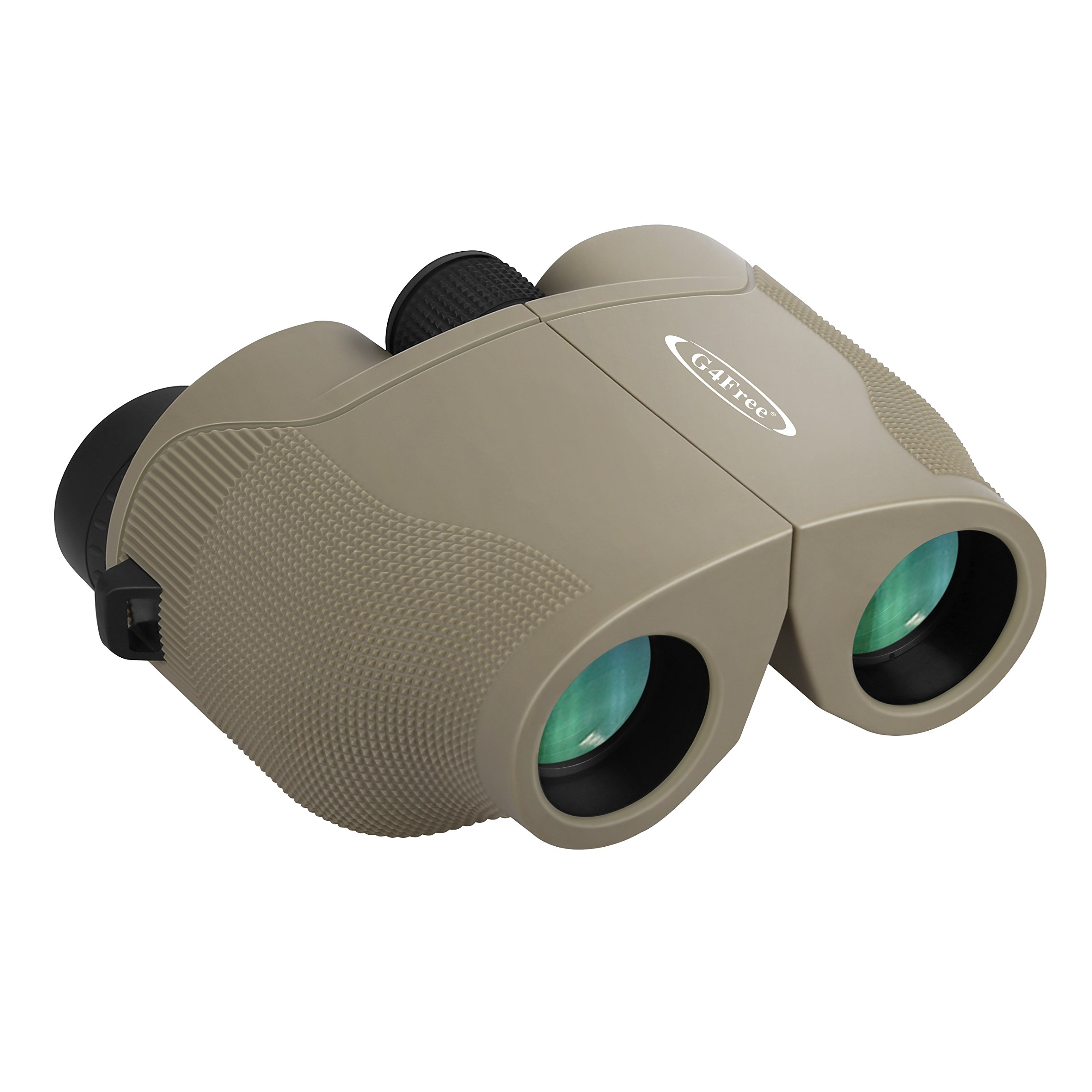 G4Free 10x25 Wide Angle Binoculars Compact BAK4 Weak Light Night Vision Binocular High Powered with Clear Vision Great for Bird Watching Outdoor Sports Games and Hunting(Sand) by G4Free