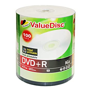 graphic relating to Printable Dvd Discs called : ValueDisc,White Inkjet Hub Printable DVD+R 16x