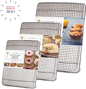 Stainless Steel Wire Cooling Rack for Baking – 3 Pack – 1 for Half Sheet Pans, 1 for Jelly Roll Pans, and 1 for Quarter Sheet Pans – Oven-safe, Heavy Duty Commercial Quality
