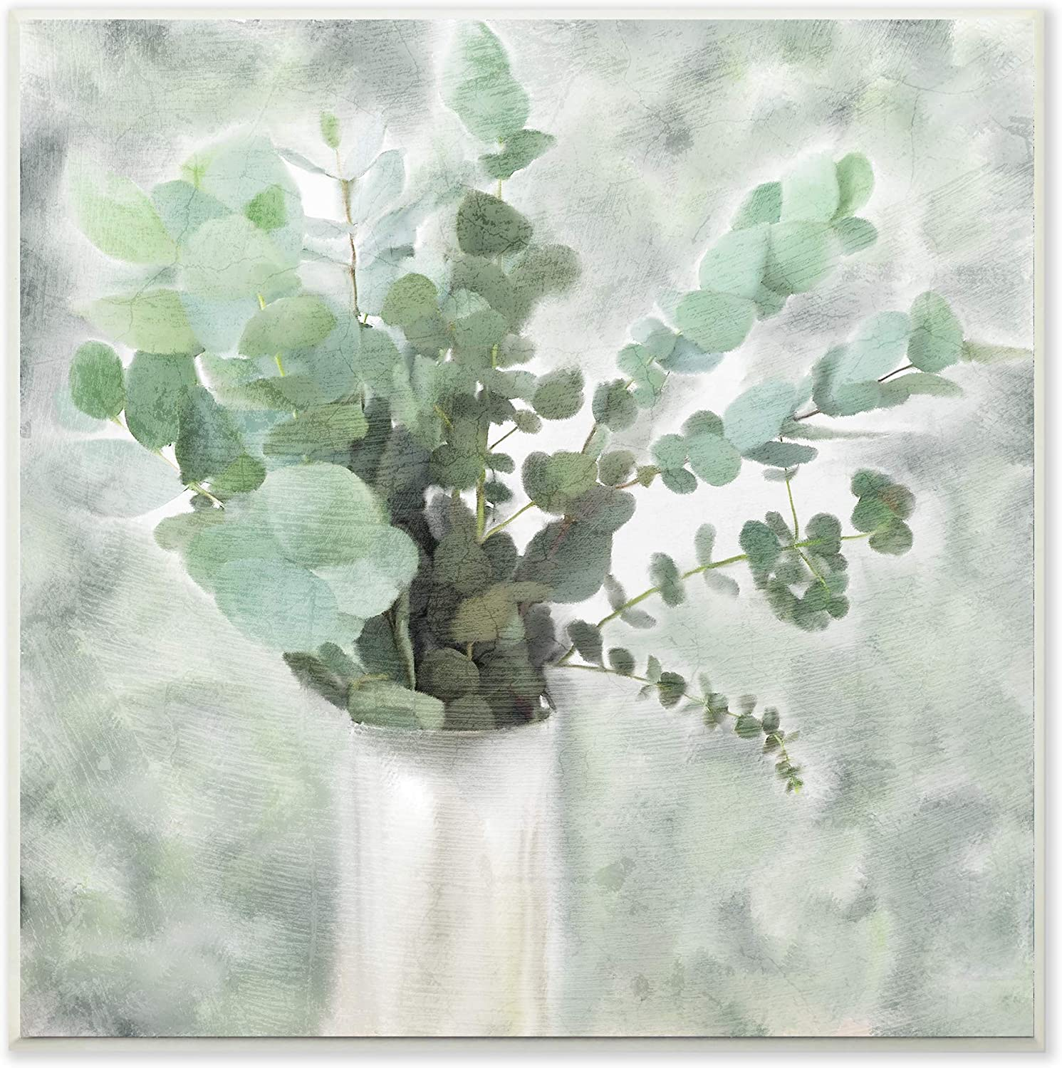 Stupell Industries Sage Green Painterly Eucalyptus in White Vase Wall Plaque Art, 12 x 12, Multi-Color