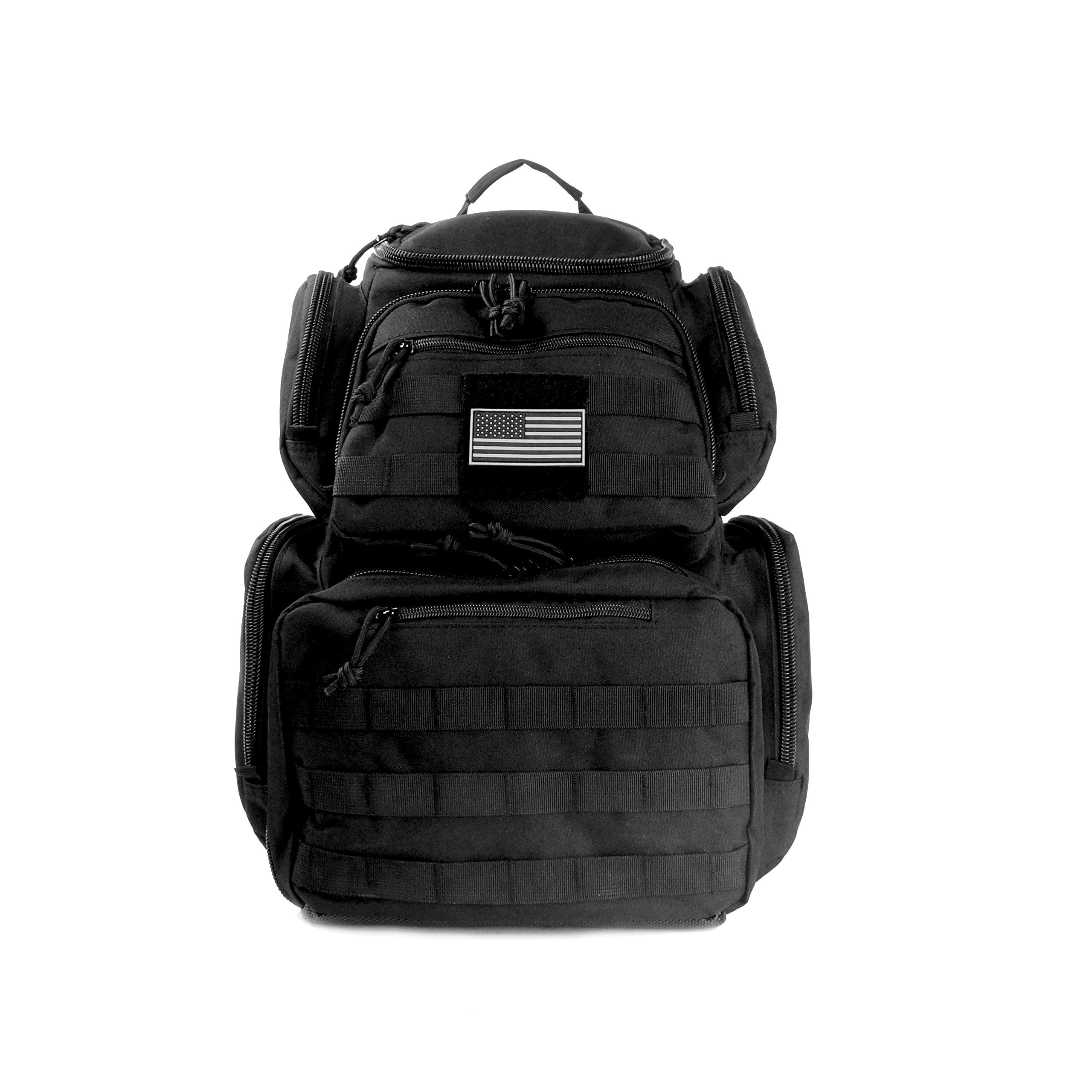 Tactical Backpack Military Gear Carries 5 Handguns Multi-Functional Ammo Pouches And Magazine Pockets for Pistols Thick Heavy Duty Materials Perfect for Camping, Hiking, Trekking Unisex Gun Range Bag by NiceAndGreat