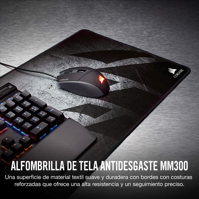 Corsair MM300 Alfombrilla de ratón para juego superficie paño antidezgaste, Tamaño Extendedido, Negro