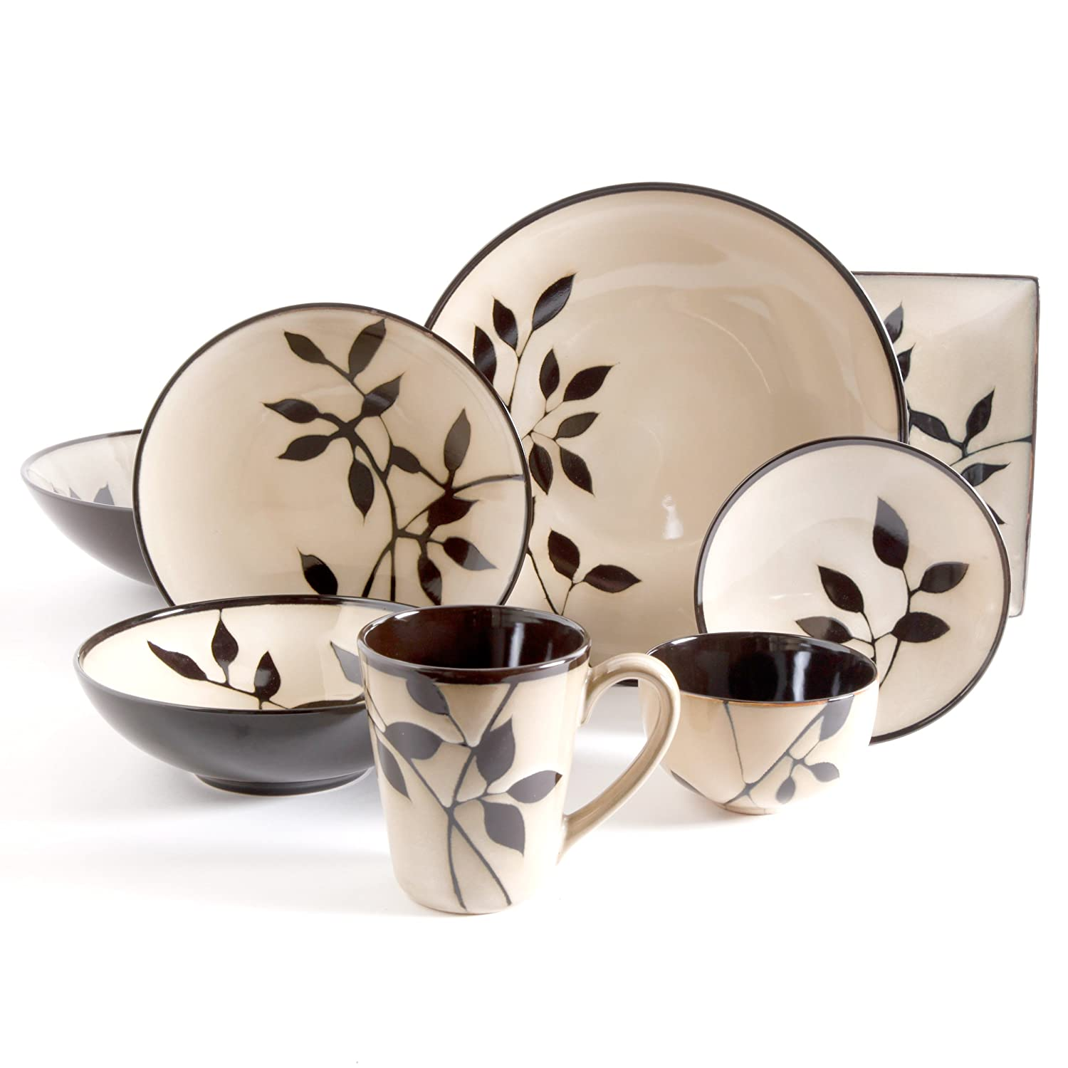 Amazon.com Gibson Elite Kai 16 Piece Dinnerware Set with Onyx Reactive Glaze Cream Kitchen \u0026 Dining  sc 1 st  Amazon.com & Amazon.com: Gibson Elite Kai 16 Piece Dinnerware Set with Onyx ...