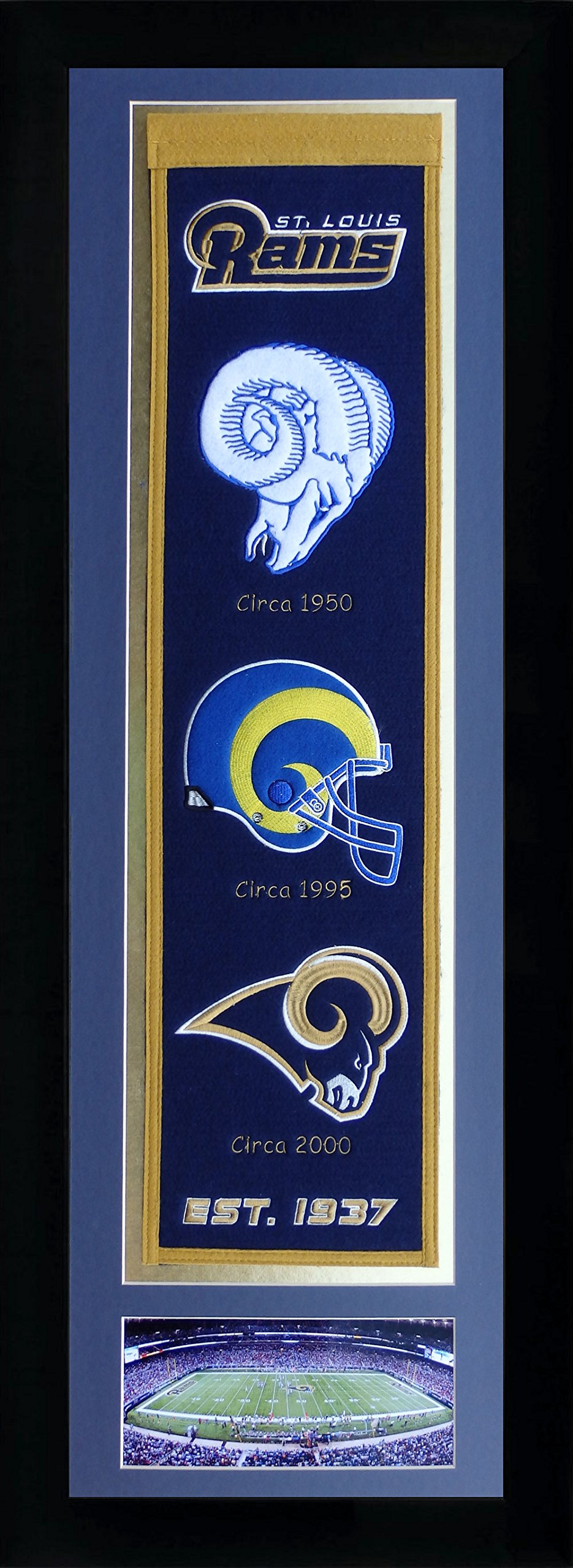 NFL St. Louis Rams Legends Never Die Team Heritage Banner with Photo, Team Colors, 15'' x 42'' by Legends Never Die