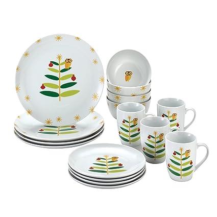 Rachael Ray Dinnerware Holiday Hoot 16-Piece Dinnerware Set  sc 1 st  Amazon.com & Amazon.com | Rachael Ray Dinnerware Holiday Hoot 16-Piece Dinnerware ...