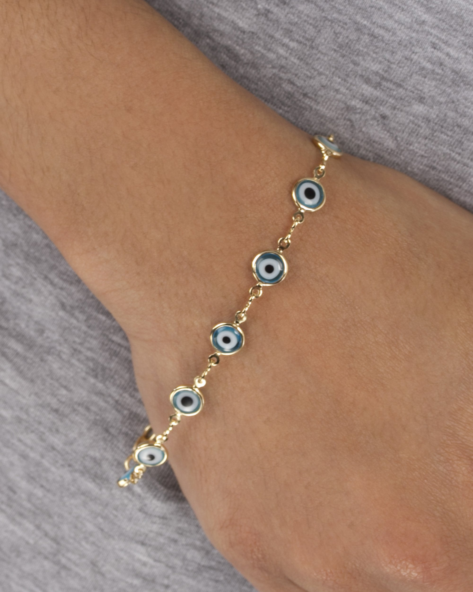 Gold Overlay with Light Blue Mini Evil Eye Style 7.5 Inch Clasp Bracelet (T-328)