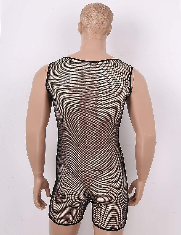 iiniim Herren Body Overall Netz Unterhemd Ouvert-Panties M/änner Jumpsuit Dessous Unterw/äsche Nachtw/äsche