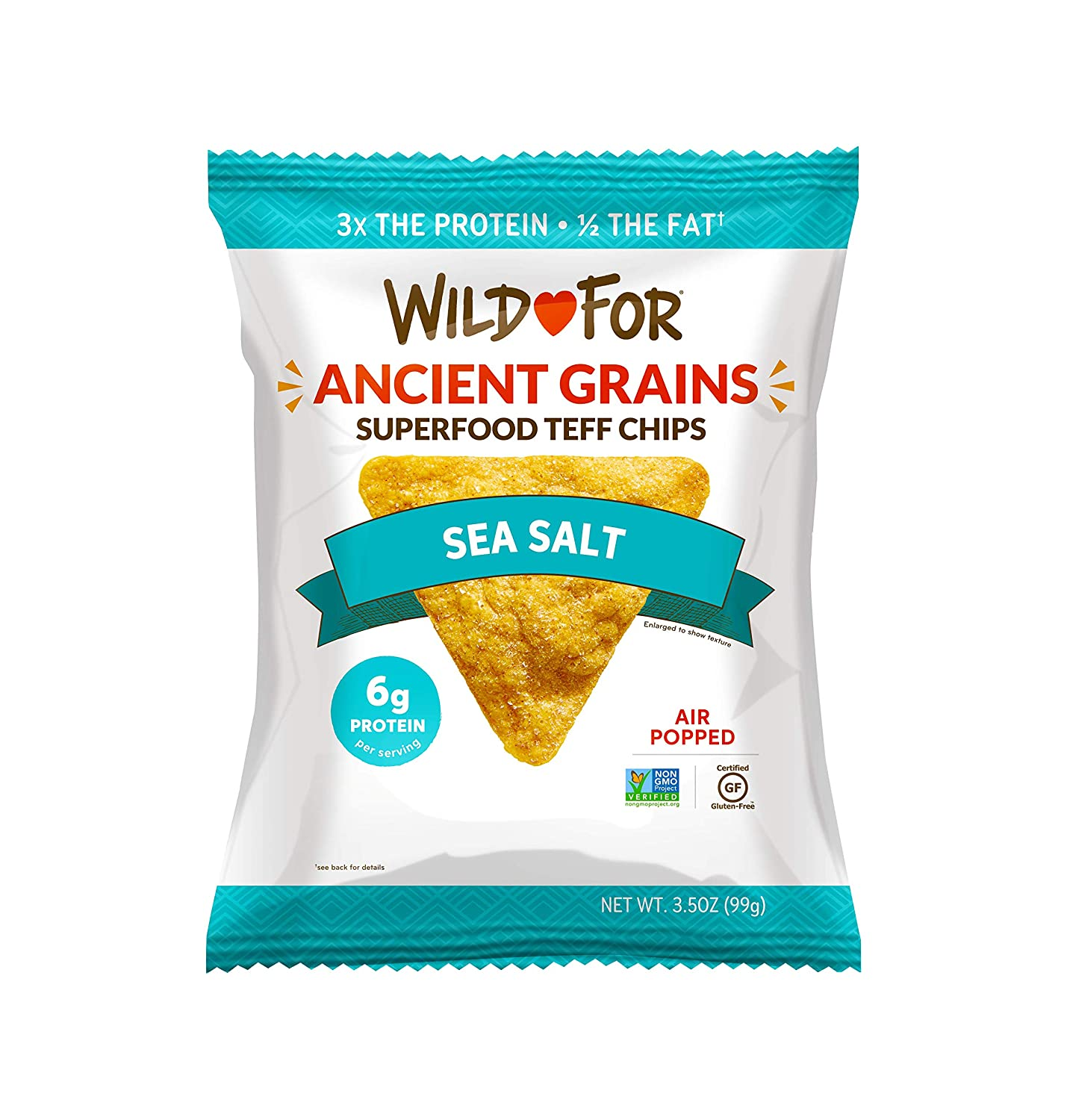 WILD FOR Tortilla Chips | Made with Teff an Ancient Grain | High Plant Protein | Superfood Vegan Snacks | Gluten Free | Sea Salt | 14 oz (4 x 3.5 oz bags)