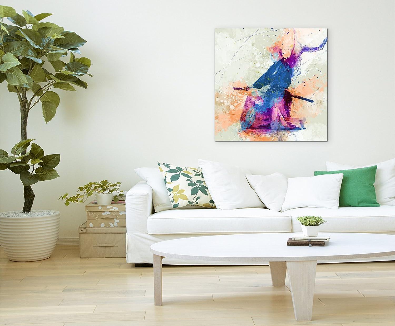 Schwertkunst 60x60cm Wandbild SPORTBILD Aquarell Art tolle Farben von Paul Sinus