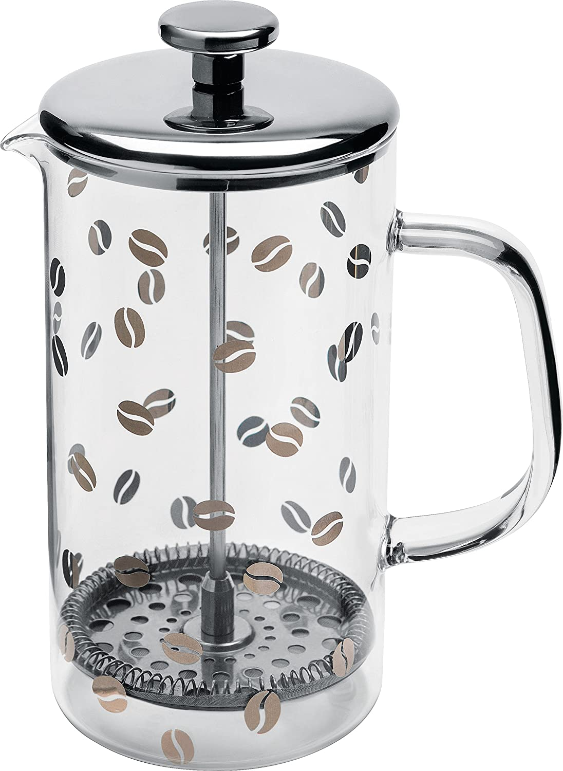Alessi Mame Press Filter Coffee Maker Or infuser in 18 10 Stainless Steel Silk-Screened Mirror Polished And Heat Resistant Glass, Silver