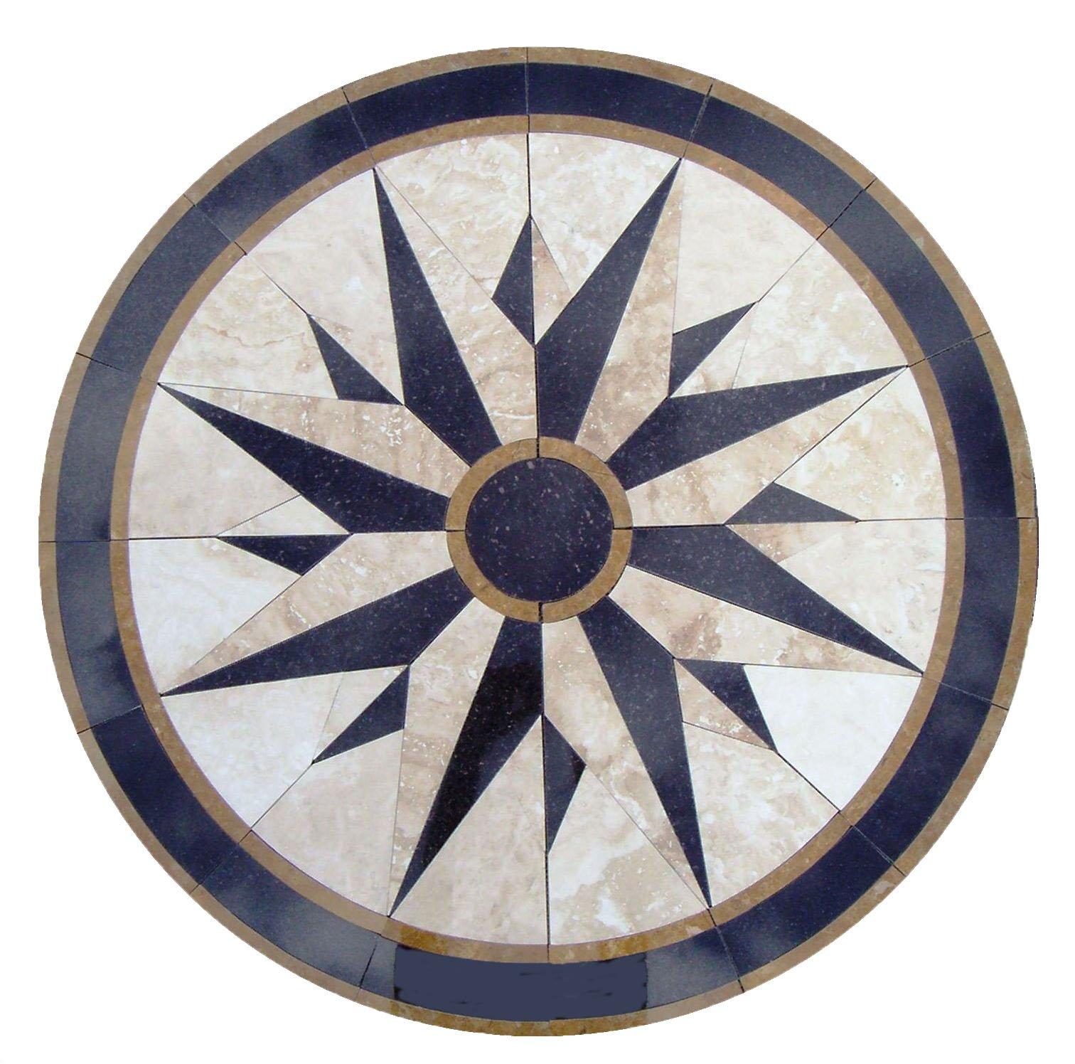Tile Floor Medallion Marble Mosaic Compass North Star Design 40''