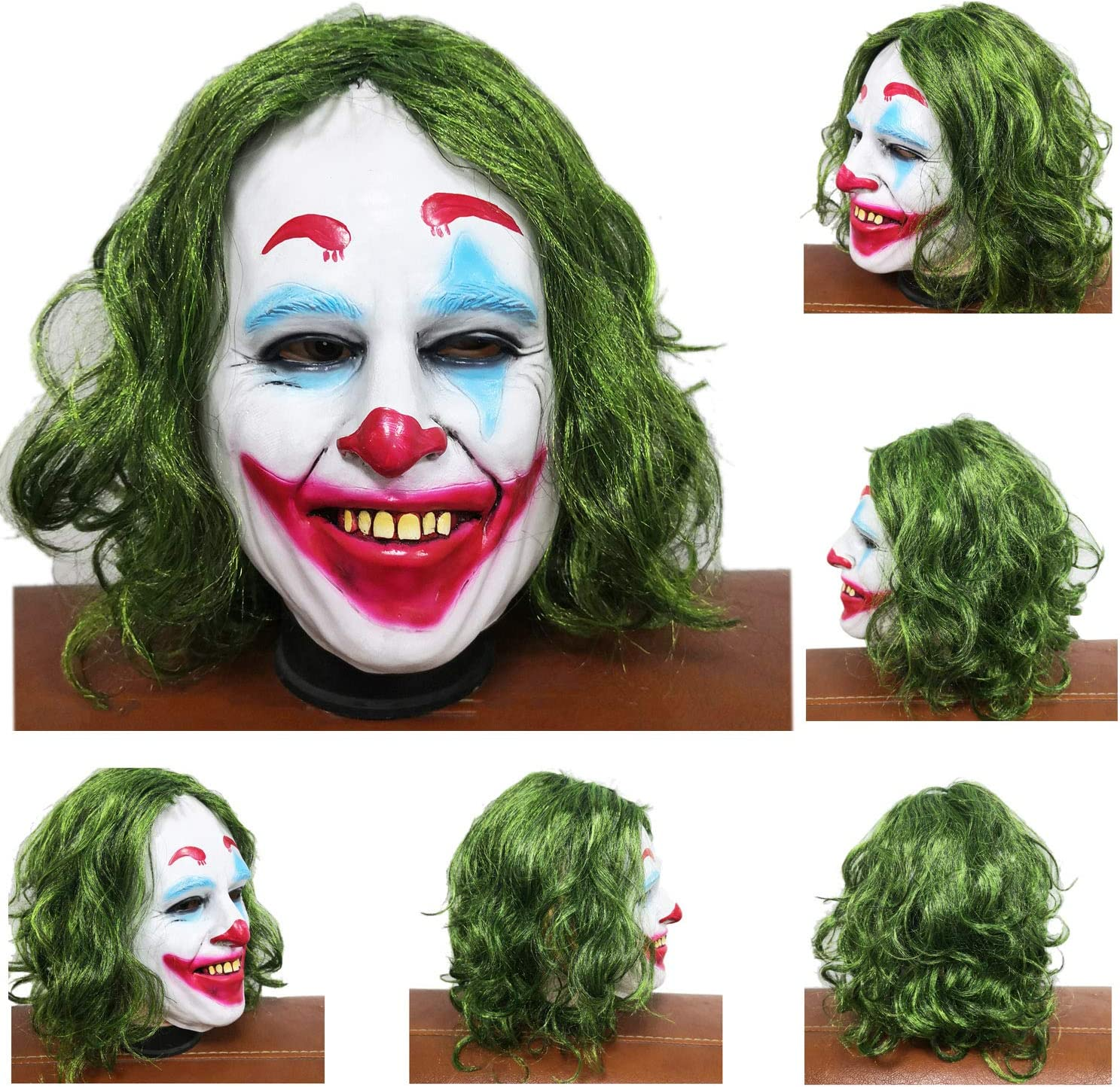 Curly Bald Clown Halloween Horror Creepy Latex Masks Dressing Costume Cosplay Scary Clown Mask