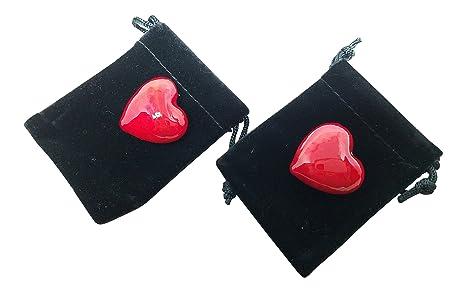 Amazon.com: Par de Corazones de vidrio rojo pequeño en ...