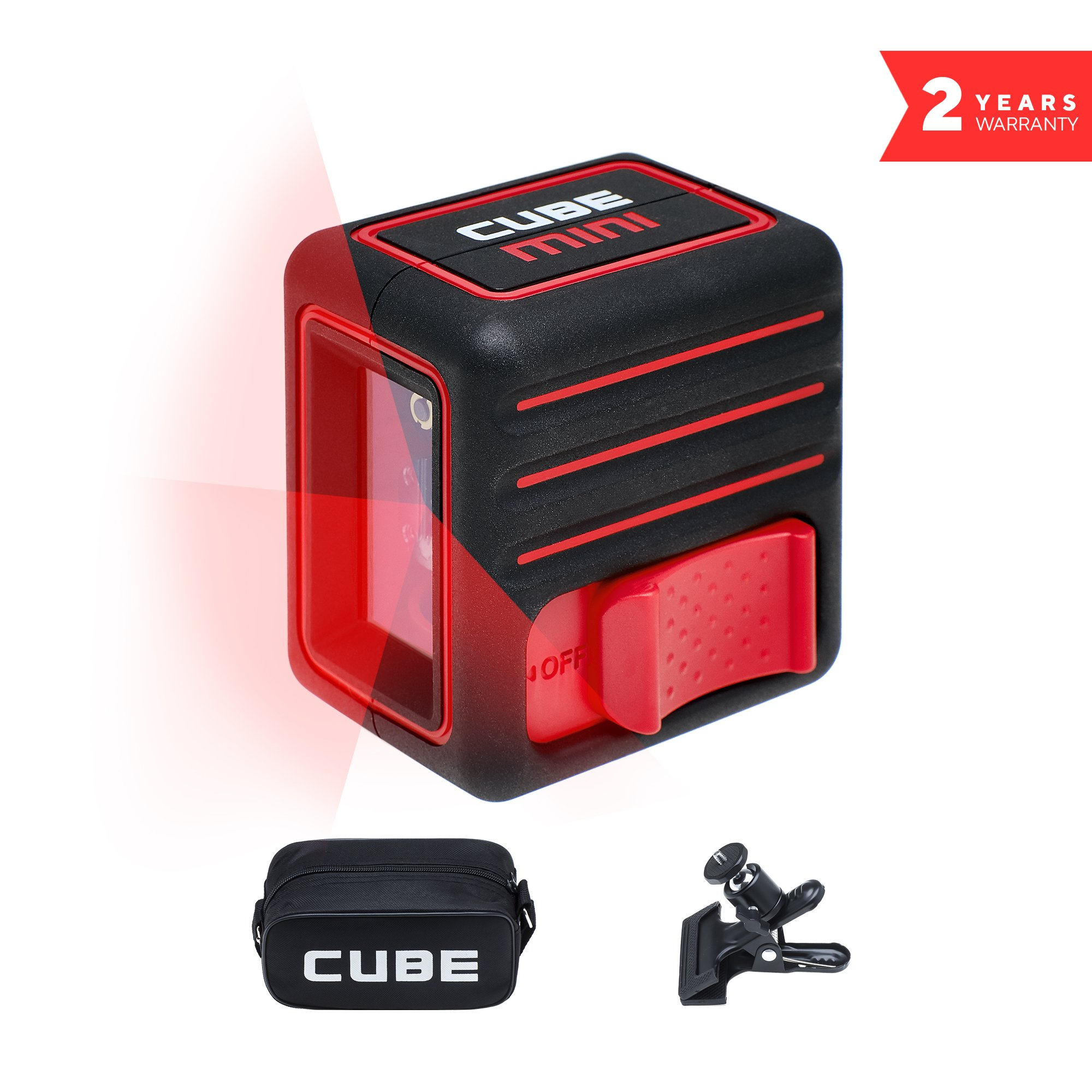 ADA Cube Mini home edition, Laser Level, 10 meters (32 feet), Black/Red, Crossline Self-Leveling Laser Level kit with Universal Mount, Carrying Pouch