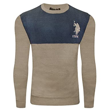 2k17Nov Mens US Polo ASSN Cable Knitwear Sweater Jumper Crew Neck Long  Sleeve TOP Beige Navy 89f42f5b2