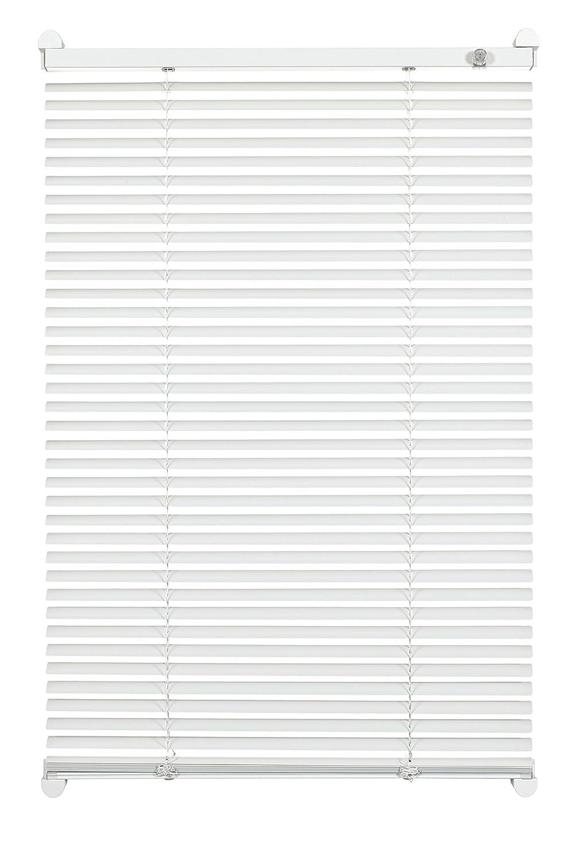 GARDINIA Veneziana in alluminio con morsetto di fissaggio, Visibilità, Protezione dalla luce e ai raggi solari, Kit di montaggio incluso, Veneziana in alluminio con 2 binari, Bianco, 60 x 130 cm (LxA) 33426