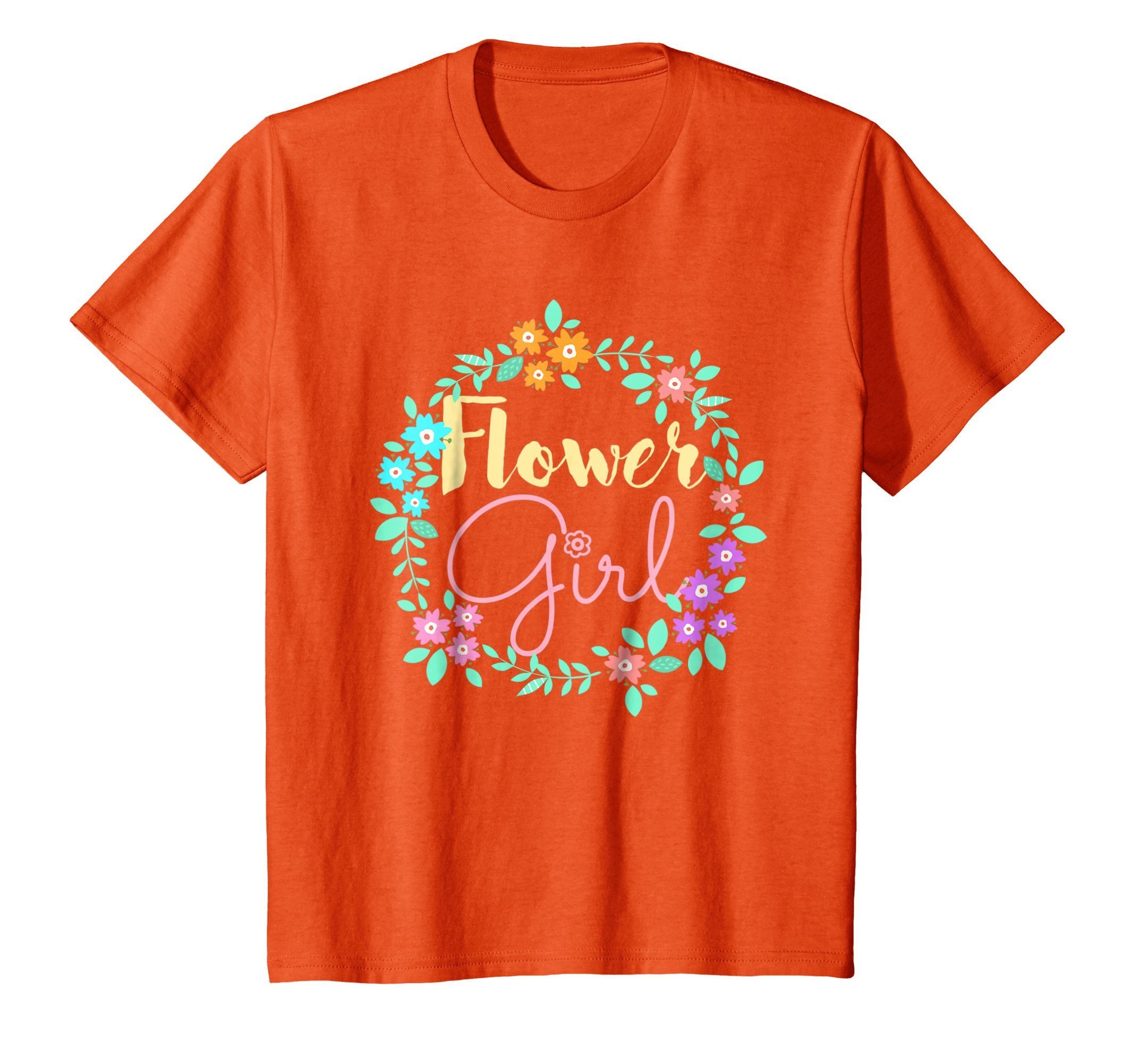 Kids Flower Girl Tee Shirt Cute Gifts Wedding 10 Orange