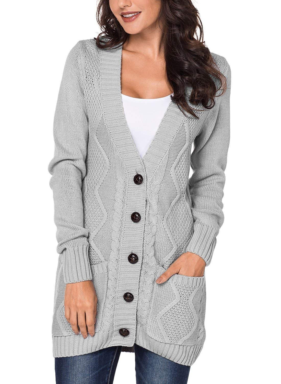 Womens Long Button Down Cardigan Sweaters Pockets Open Front Knit Chunky Outwear Coat