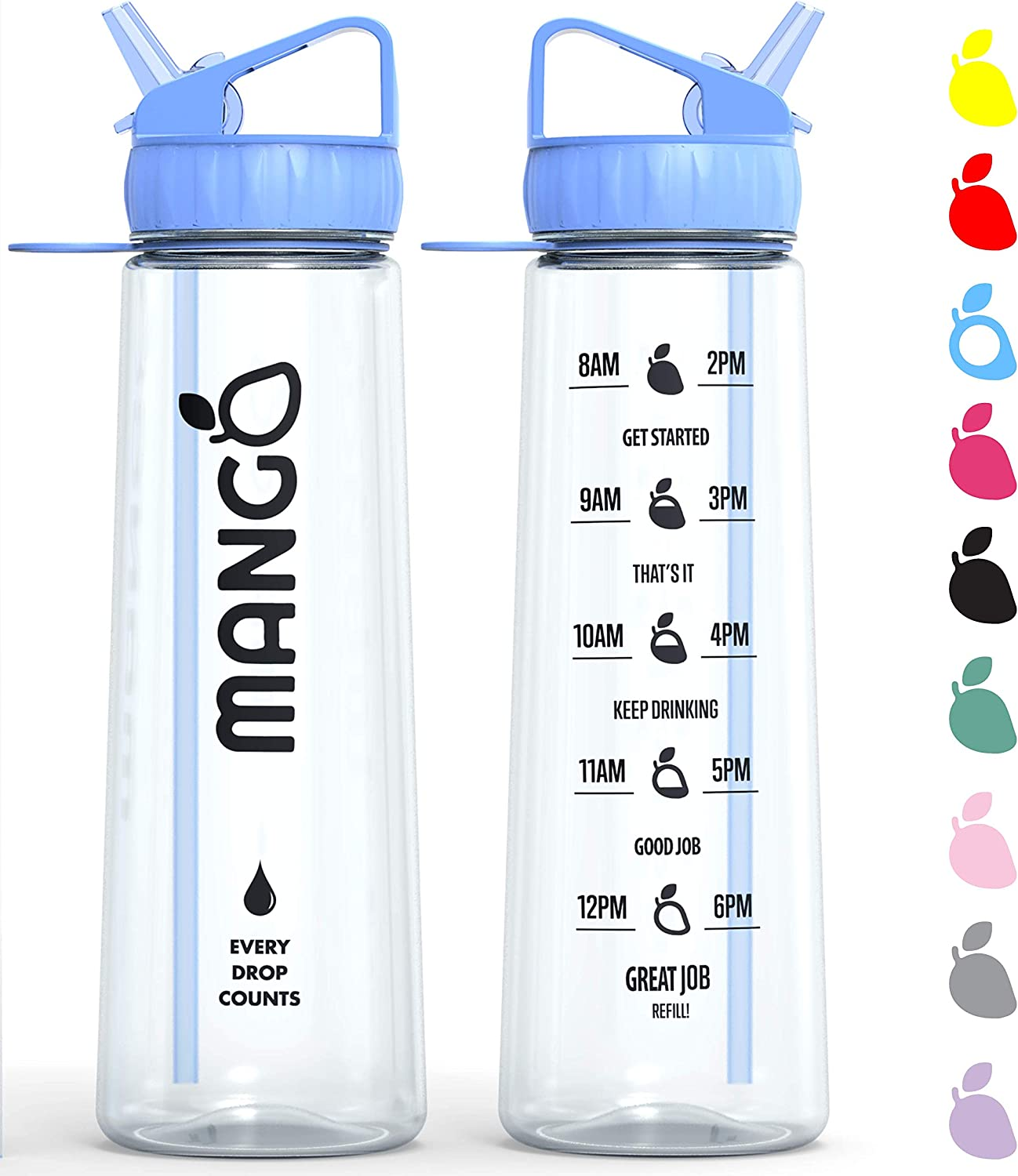Mango Water Bottle With Straw - Motivational Time Markings - BPA Free  Sports Bottles With Flip Nozzle And Leakproof Cap: Amazon.co.uk: Sports &  Outdoors