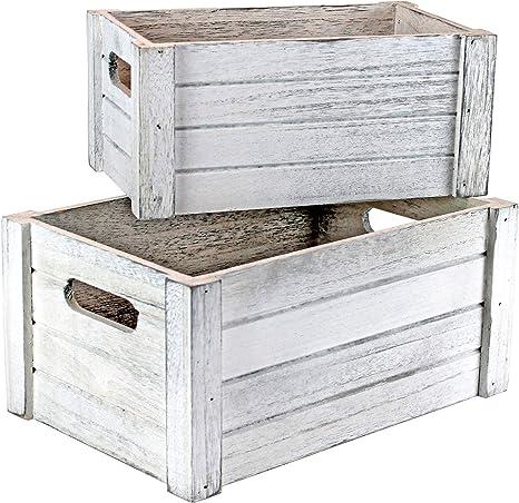 Wooden Box In Vintage Used Look White Set Of 2 Decorative Box Stairs Box Gift Basket Empty Amazon De Küche Haushalt