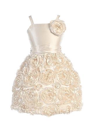 40306ecb637 Sweet Kids Little Girls Champagne 3D Floral Soutache Flower Girl Dress 4