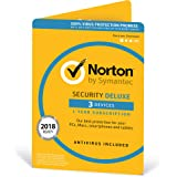 Norton Security Deluxe Antivirus Software 2018 / Anti-Virus Protection for 3 Devices (One-Year Licence) / Download for Mac, Windows, iOS and Android