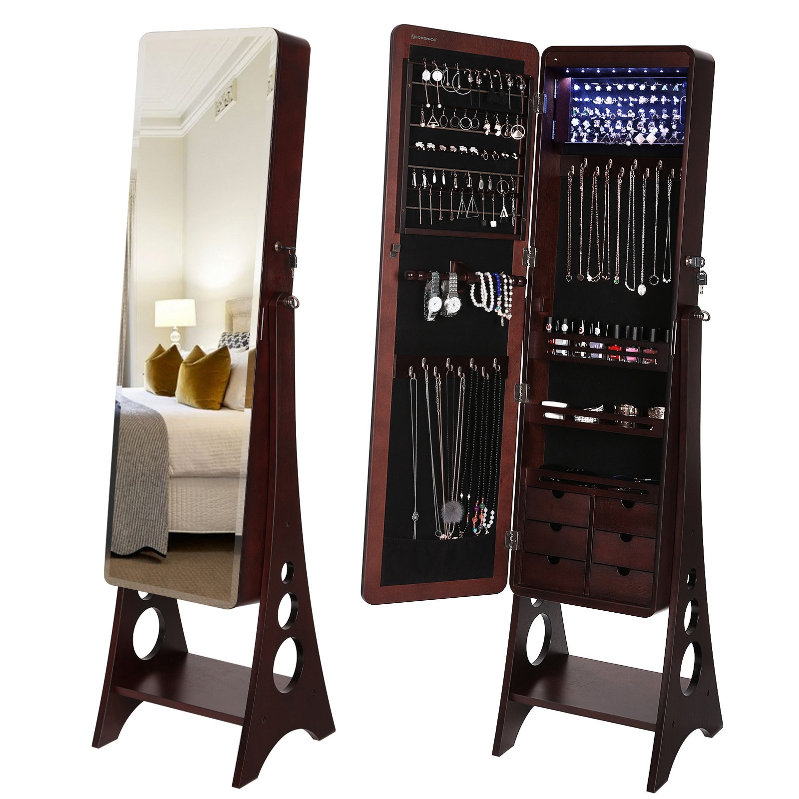 SONGMICS 8 LEDs Jewelry Cabinet with Bevel Edge Full Length Mirror, Lockable Floor Standing Jewelry Armoire Organizer, 6 Drawers Brown UJJC89K