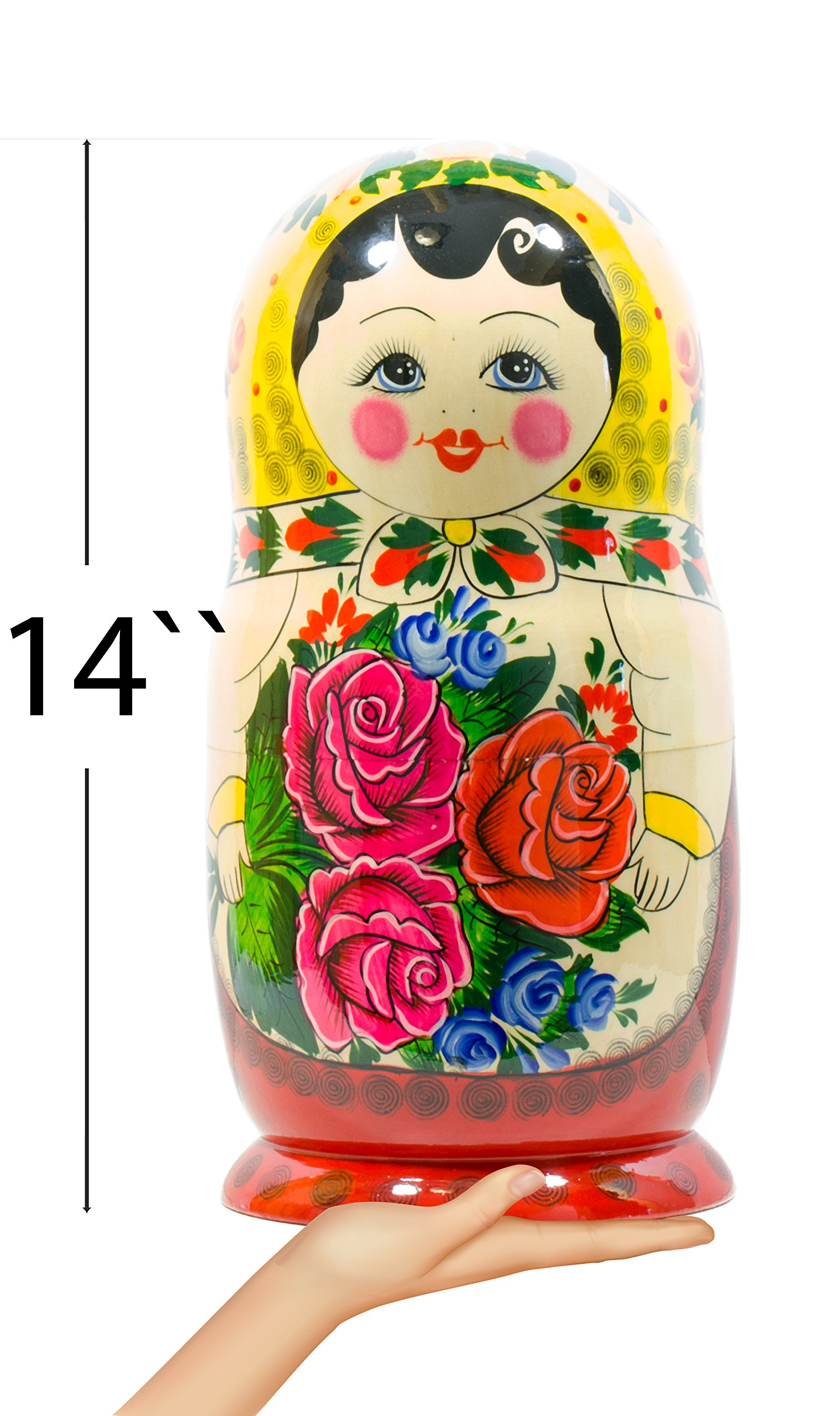 Russian Nesting Doll -Semenovo - Hand Painted in Russia - 6 Color|Size Variations - Wooden Decoration Gift Doll - Traditional Matryoshka Babushka (14``(20 Dolls in 1), Yellow - Red) by craftsfromrussia (Image #2)