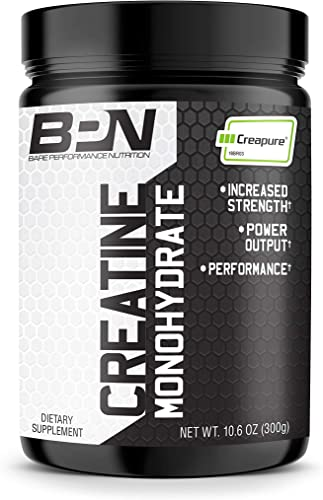 Bare Performance Nutrition, Creatine, Trademark Creapure Formula, 5g of Creapure per Serving, Improve Performance Strength 60 Servings, Unflavored