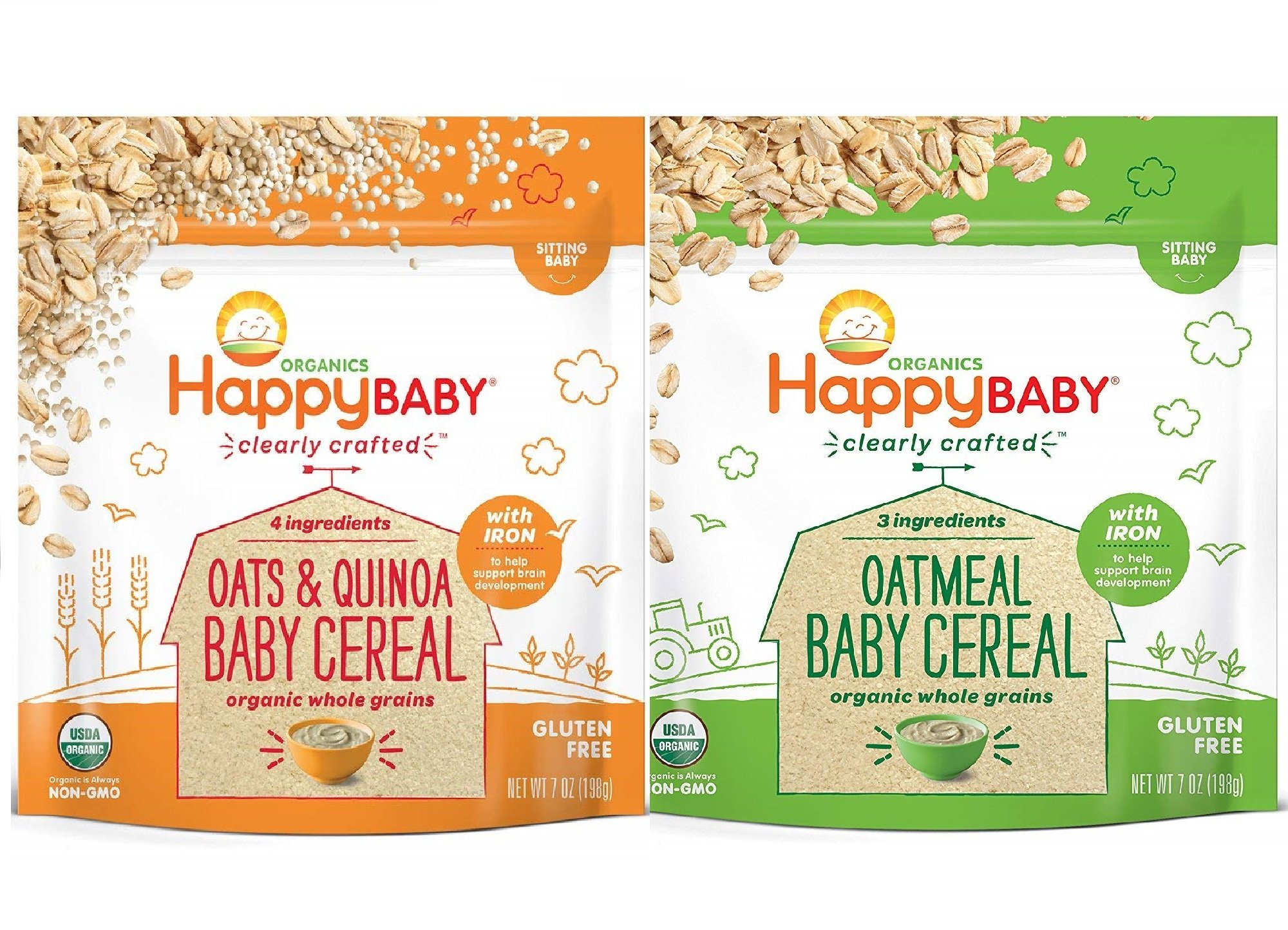 Happy Baby, Clearly Crafted Cereal (VARIETY PACK 2PK) - [Organic Whole Grain Oats and Quinoa] & [Organic Whole Grain Oatmeal], 7 Ounce, Organic Baby Cereal in a Resealable Pouch, with Iron to Support by Happy Tot
