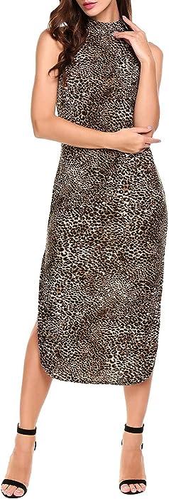 ... ANGVNS Women Leopard Print Dress Split Long Casual Cocktail Party  Evening Gowns ... d49da7c2c