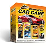 Armor All Car Wash and Cleaner Kit (4 Items) - 2pc Glass Wipes & Protectant with Wax & Wash Soap and Tire Shine Foam