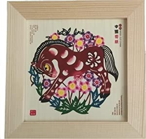 "XiaoDongGua Folk Art Decor Real Handmade Wood Frame Artwork Chinese Paper-Cut, Wall Art or Study Desk, Office Desk Decoration 6""x6"" - 12 Chinese Zodiac - Horse"