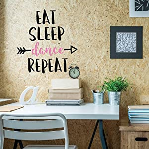 Girls Dance Wall Decals - Eat, Sleep, Dance, Repeat Quote Vinyl Lettering - Home Decor for Girl's Bedroom, Bathroom, Dance Studio