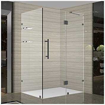 aston avalux gs completely frameless shower enclosure with glass shelves 33u0026quot x 36u0026quot