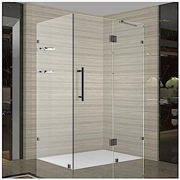 Aston Avalux GS Completely Frameless Shower Enclosure With Glass Shelves,  33u0026quot; X 36u0026quot;