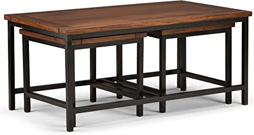 Simpli Home Skyler SOLID MANGO WOOD and Metal 44 inch Wide Rectangle Modern Industrial Nesting 3 Pc Coffee Table in Dark Cognac Brown, Fully Assembled, for the Living Room, Family Room