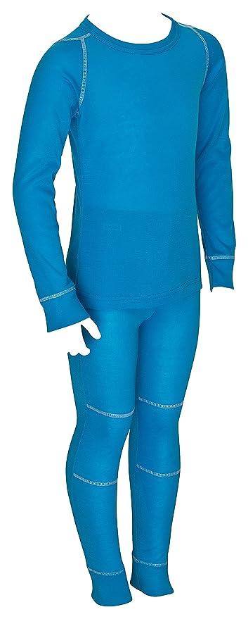 icefeld® - Atmungsaktives Thermo-Unterwäsche Set für Kinder - warme Wäsche aus langärmligem Oberteil + Langer Unterhose (ÖkoT