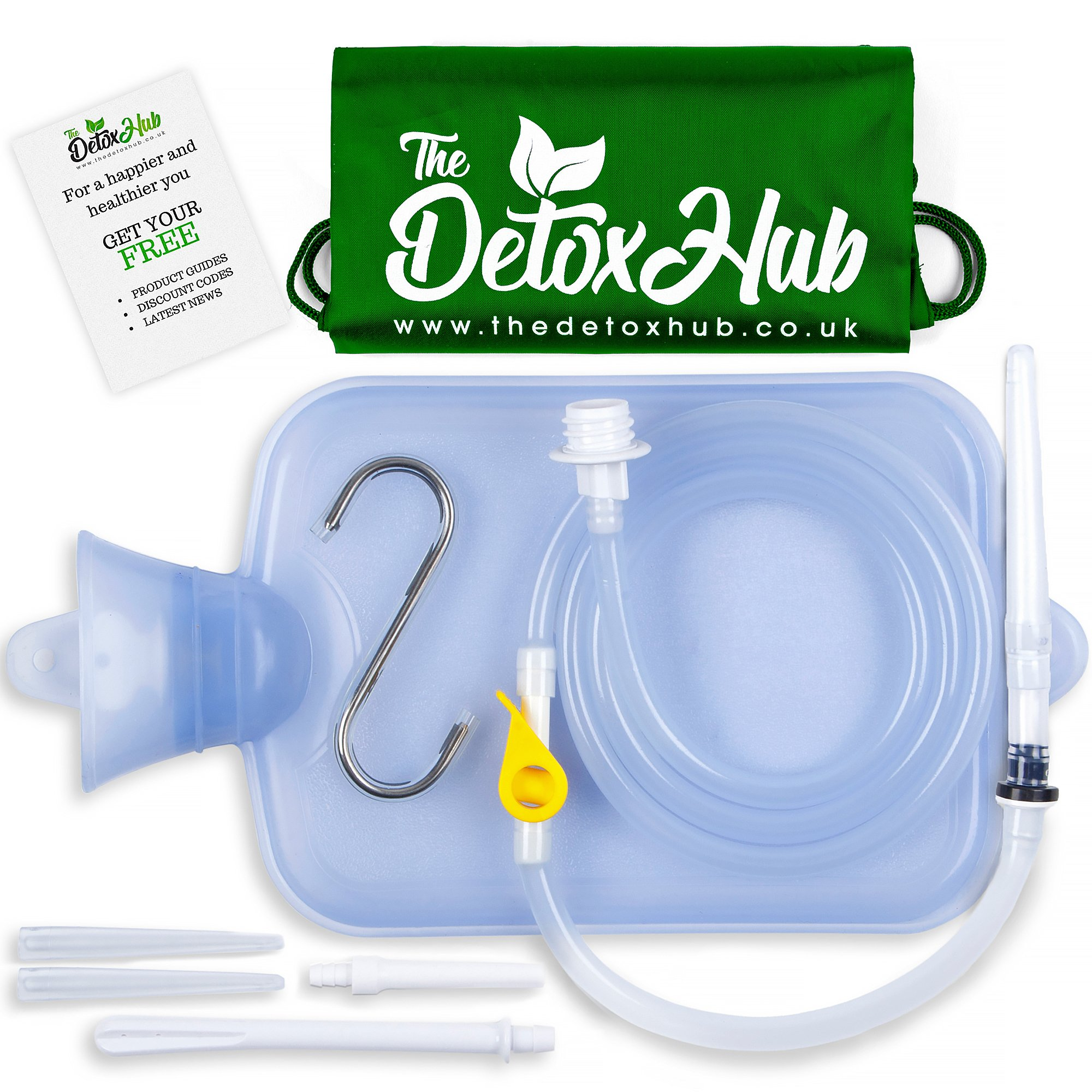 Enema Kit Bag Non-Toxic | Closed-Top Spillage-Free Silicone Enema Kits for Coffee & Water Enamas. 1.5 Quart Clear Bag BPA & Phthalates Free by TheDetoxHub