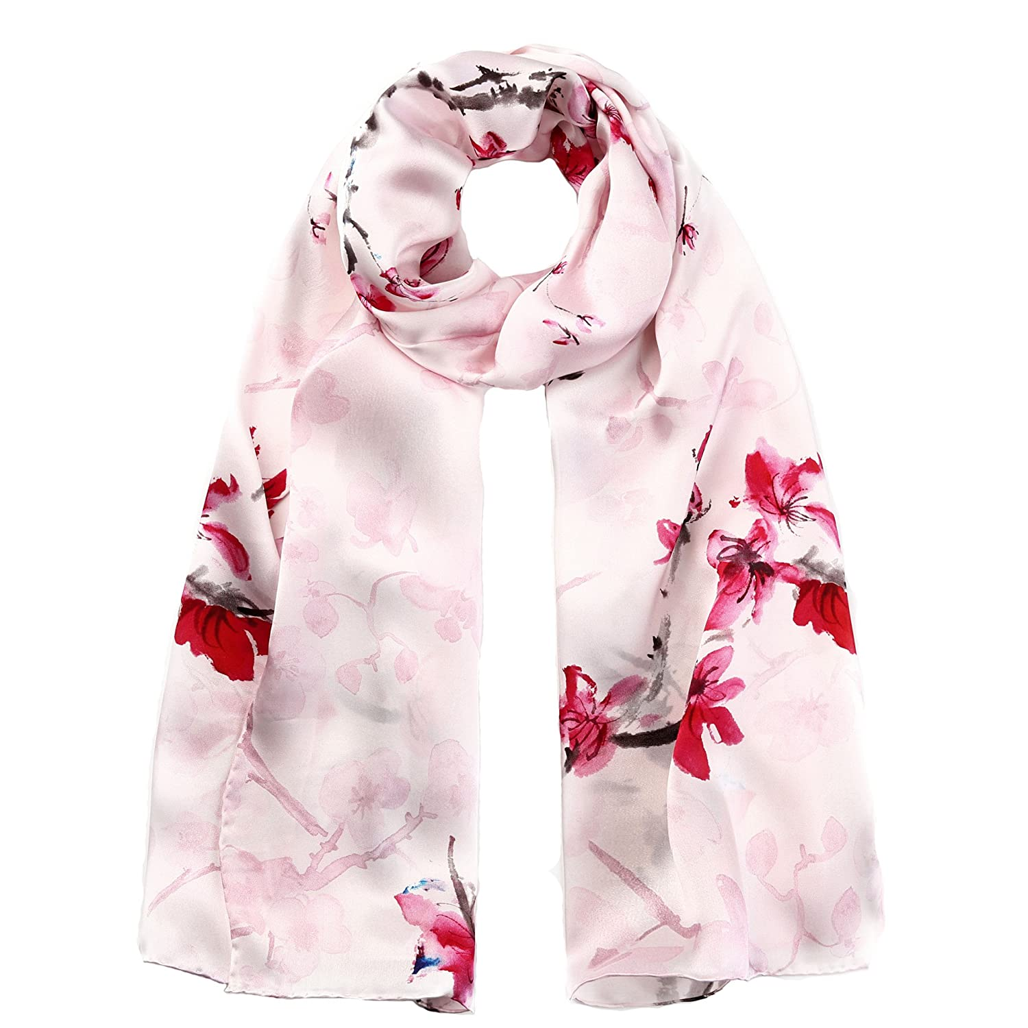 STORY OF SHANGHAI Womens 100% Natural Mulberry Silk Scarf Multi-use Floral Satin Scarves Luxury Gifts for Ladies DFCY05C1011