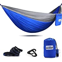 Mersuii Double Camping Hammock with Tree Straps, Lightweight Portable Parachute Nylon 2 Person Outdoor Hammock for Backpacking, Travel, The Beach