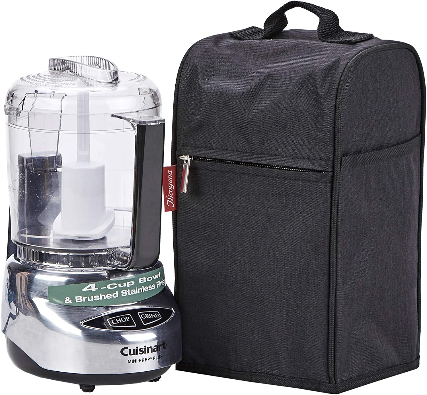 NICOGENA Food Processor Dust Cover with Accessory Pockets Compatible with Cuisinart Custom 3-4 Cup, Black (Dust Cover Only)