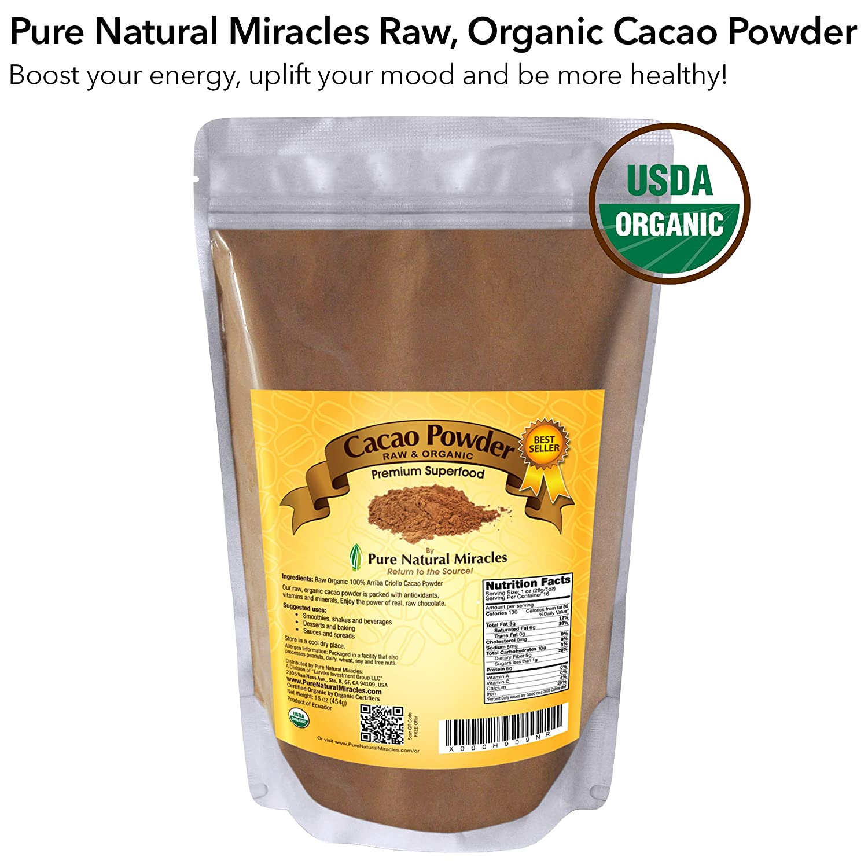 Amazon Com Cacao Powder Raw Organic Unsweetened Cocoa By Pure
