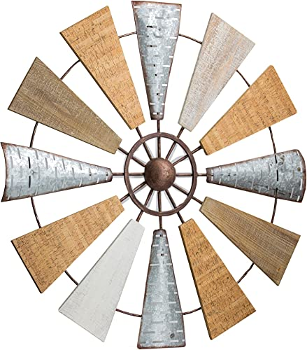 American Art Decor Wood and Metal Windmill Wall Art Farmhouse Wall Decor