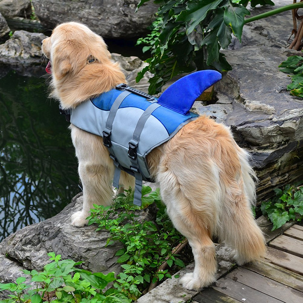 Ofilon Dog Life Jacket, Ripstop Pet Life Vest Preserver for Small, Middle, Large Size Dogs Water Safety Swimsuit Flotation Device at the Pool Swimming, Beach, Boating (Blue Shark, S) by Ofilon (Image #8)