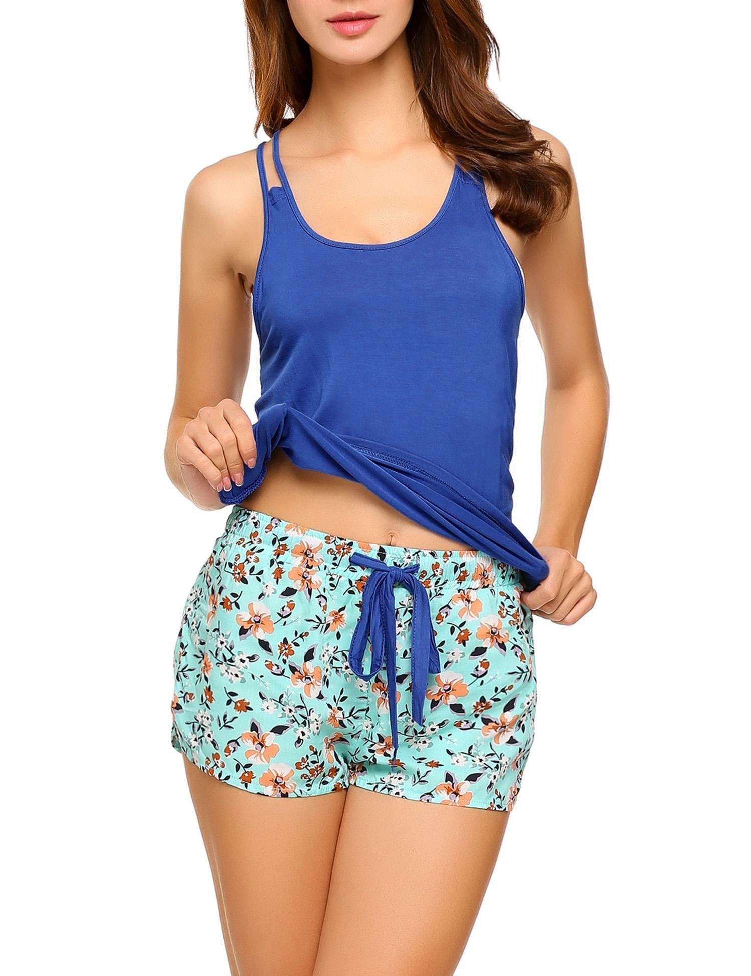 Declare Women's Sexy Sleeveless Pajamas Set Sexy Camisole Sleepwear Nightgowns(Blue M)