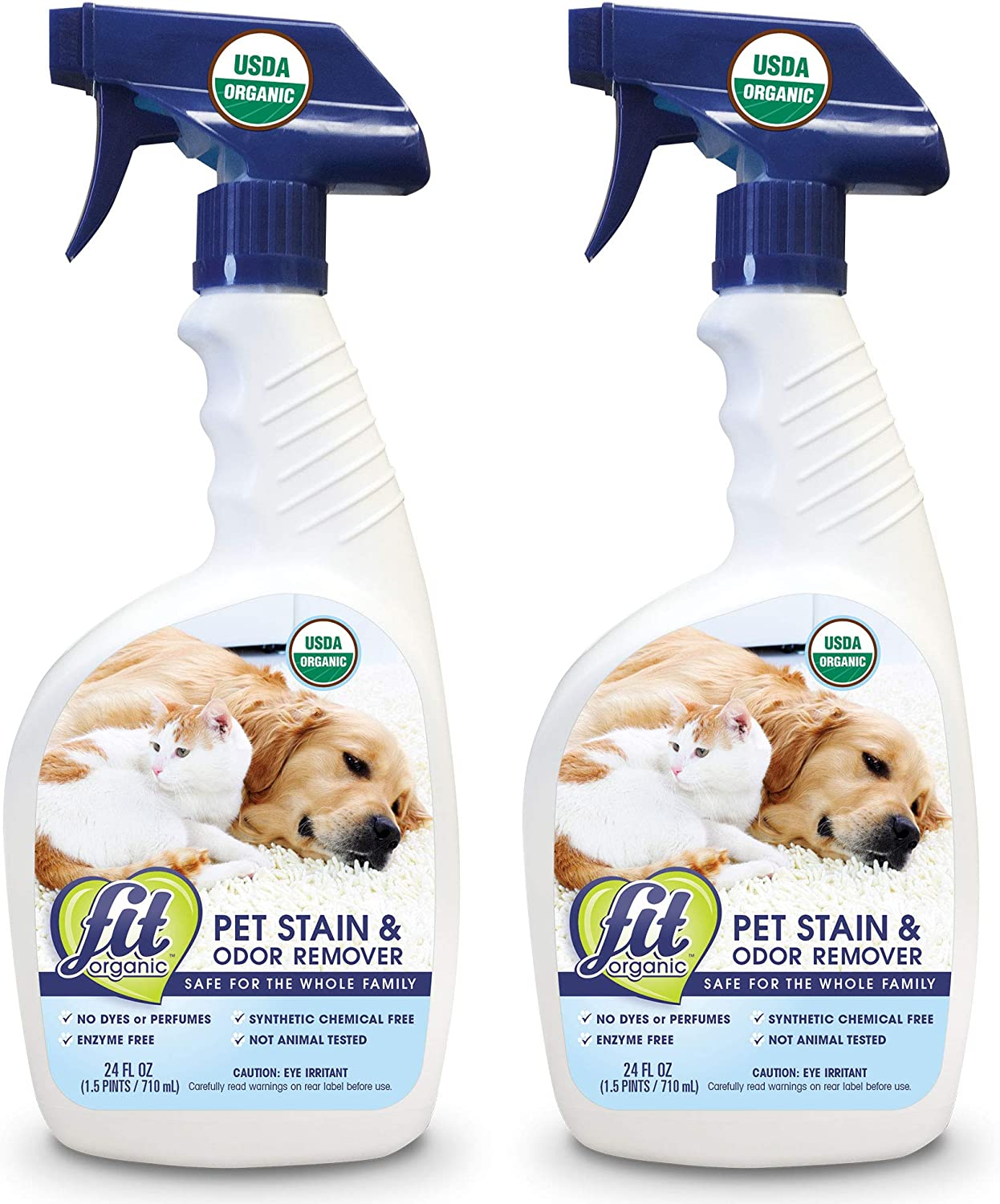 FIT Organic: All Natural Stain & Odor Eliminator, Pet Stain and Odor Remover, Spot Carpet Cleaner, Enzyme Free-24 oz